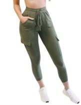 Pantaloni casual a vita alta con coulisse e tasche laterali