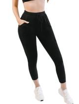 Lässige Hose mit hoher Taille und Kordelzug und Seitentaschen