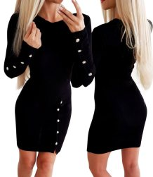 Black Long Sleeve Slit Mini Dress