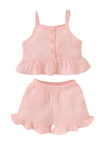 Kids Girl Summer Straps Top and Shorts Set