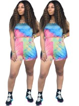 Sexy Strapless Tie Dye Crop Top and Shorts Set