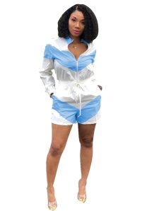 Contrast Long Sleeve Casual Zipper Rompers