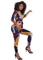 Print Colorful V-Neck Bodycon Jumpsuit