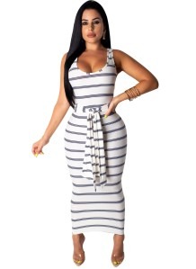 Summer Stripes Sleeveless Long Dress with Belt