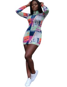 Print Colorful Sexy Long Sleeve Mini Dress
