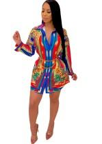 Print Retro Long Sleeve African Blouse