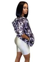 Jaqueta com capuz de manga comprida camou print