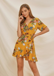 Summer Floral Wrapped Short Dress