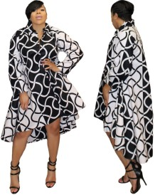 White and Black Print High Low Hippie Dress