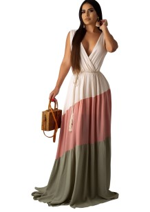 Summer Contrast Sleeveless V-Neck Maxi Dress