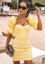 Mini abito vintage giallo con maniche pop