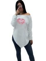Imprimir Irregular Hombro Camisa con Mangas