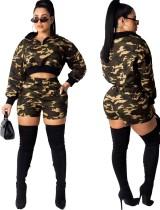 Camou print crop top en shorts