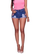 Floral Blue Ripped Denim Shorts
