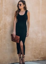 Black Sleeveless Slit Long Knit Dress