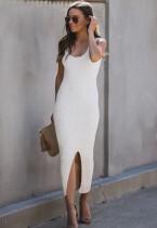 White Sleeveless Slit Long Knit Dress