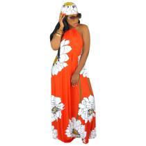 Vestido largo halter con estampado floral de verano