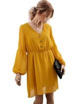 Sommer Romantisches kurzes Kleid mit V-Ausschnitt und A-Linie