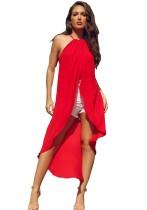 Camisa Larga Halter Roja Verano
