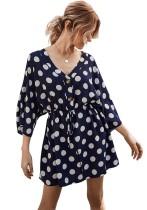 Sommer Polka V-Neck Drawstrings Kurzes Kleid
