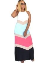 Летнее контрастное длинное платье