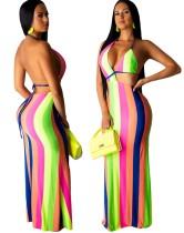 Длинное вечернее платье с широкими полосками