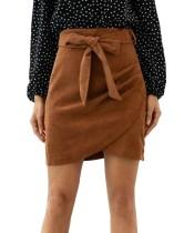 Minifalda Envuelta en Terciopelo Caqui