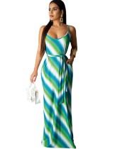 Разноцветное платье с поясом