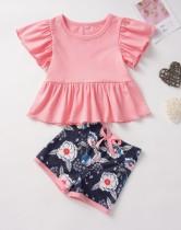 Camisa lisa de verano para niña y pantalón corto estampado
