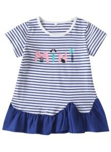 Детское летнее платье в полоску с принтом для девочек