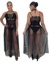 Black See Through Sexy Long Party Dres