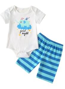 Baby Boy Summer Print Strampler und Shorts