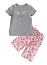 Pijama de dos piezas con estampado de verano para niña
