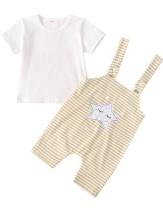 Kinder Mädchen Sommer weißes Hemd und Streifen Latzhose