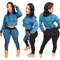 Top y pantalones cortos con capucha y contraste