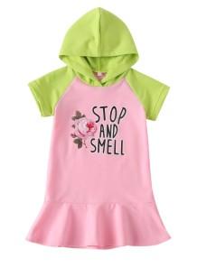 Детское летнее платье с капюшоном для девочек