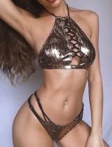 Sexy Schnürung Zweiteilige Metallic Leopard Badebekleidung