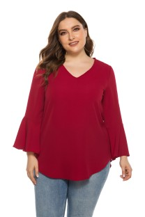 Plus Size Solid Color V-Neck Shirt with Sleeves