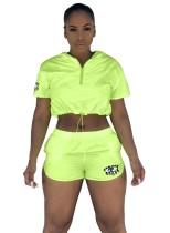 Summer Neon Active Top corto y shorts