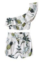 Kids Girl Summer Print One Shoulder Top and Matching Shorts