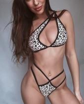 Sexy ausgeschnittene zweiteilige Leoparden-Badebekleidung mit einer Schulter