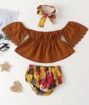 Baby Girl Summer Off Schulteroberteil und Blumenshorts mit passendem Stirnband