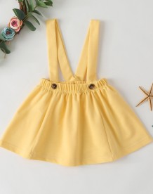 Kids Girl Summer Suspender Plain Skirt