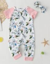 Mamelucos mono floral de verano para niña con diadema