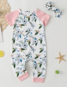 Baby Girl Summer Floral Jumpsuit Rompers with Headband