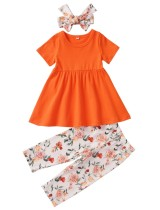 Set di pantaloni floreali per bambini 3PC estate ragazza