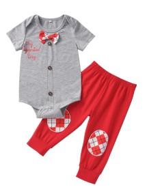 Baby Boy Summer Grey Strampler und rote Hosen