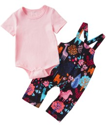 Baby Girl Summer Pink Romper and Cartoon Suspender Pants