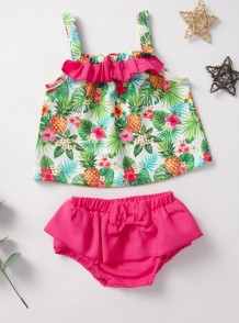 Baby Girl Summer Cute Top y shorts florales