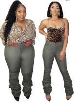 Grüne Jeans in Übergröße mit hoher Taille